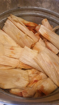 The tamales are steamed and ready to be eaten!