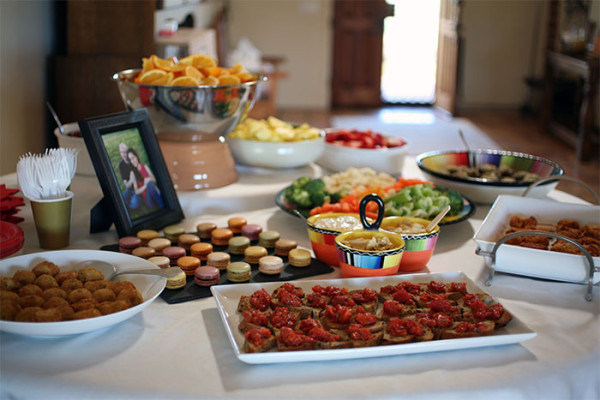 Food spread for a bridal shower