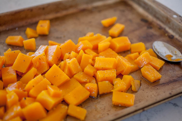 butternut squash ready for roasting.