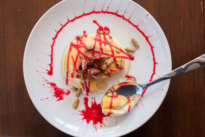 cranberry coulis goes perfectly with pumpkin panna cotta