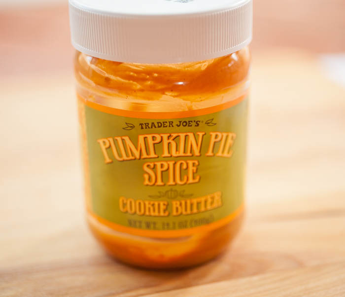 a jar of pumpkin pie spice cookie butter from Trader Joe's