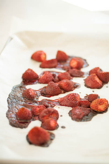 strawberries out of the oven on a sheet pan.
