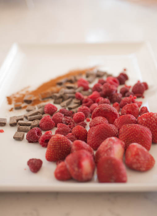 raspberries, strawberries, chocolate, and cinnamon