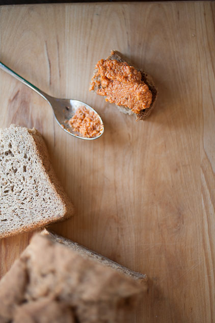 romesco sauce and bread with a spoon_darker
