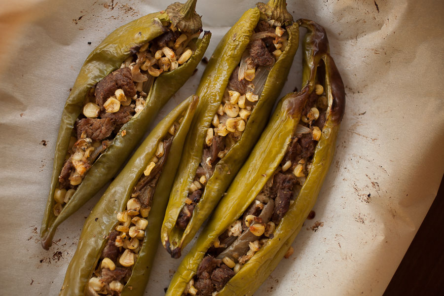 Fajita-stuffed Hatch green chile is full of delicious, spicy fall harvest flavor!