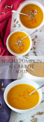 Looking for a simple recipe for a fall dinner? This silky smooth spiced pumpkin and carrot soup uses the best of fall's produce to make a warm, filling, and healthy meal!