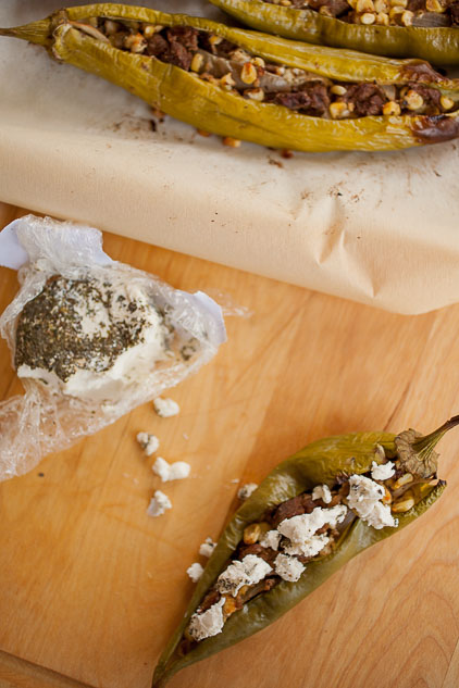 Peppers and soft Spanish cheese help pack this recipe for fajita-stuffed Hatch green chile full of flavor!