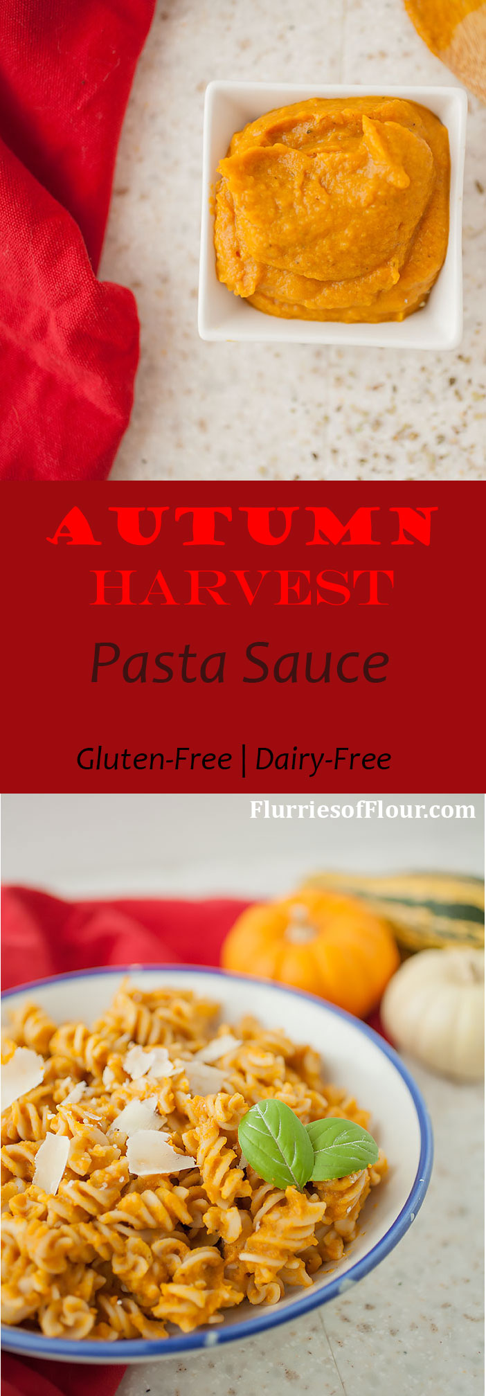 Simple, creamy, and delicious, this autumn harvest pasta sauce is gluten-free, dairy-free, and full of good-for-you pumpkin and squash with added creaminess from coconut milk! It also makes a beautiful base for further flavors and additions, and stores perfectly in the freezer!