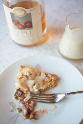There is a spiced taste of fall in every bite of this simple warm Calvados apple galette!