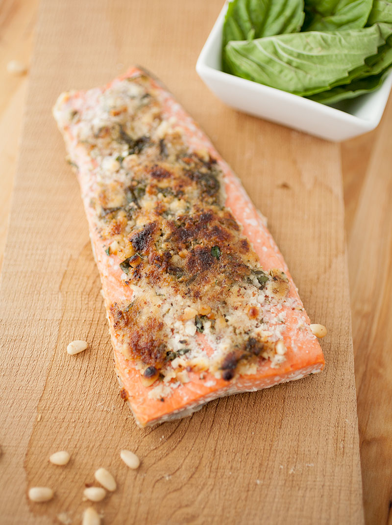 Bright salmon with a nutty, flavorful crust—it's a delicious gluten-free and dairy-free way to make your salmon!