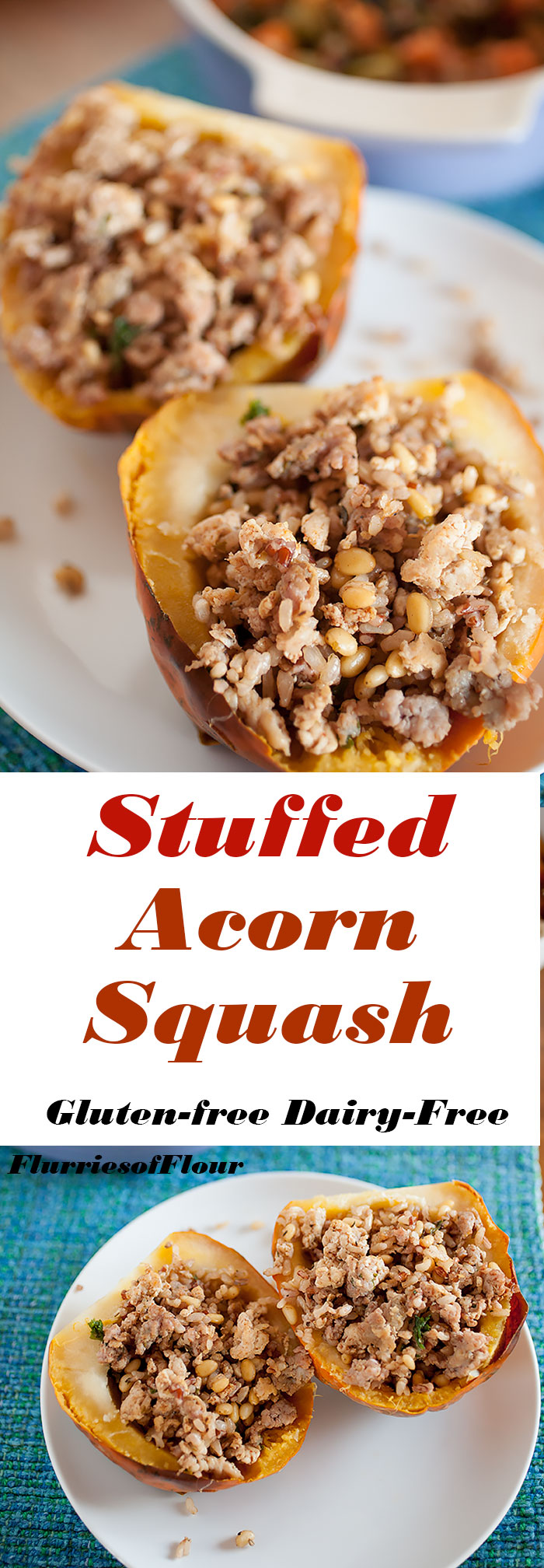 A simple, easy Thanksgiving side dish without much prep or time spent cooking! Acorn squash stuffed with savory sausage and turkey, rice, spice, and a bit of greens for a healthy crunch!