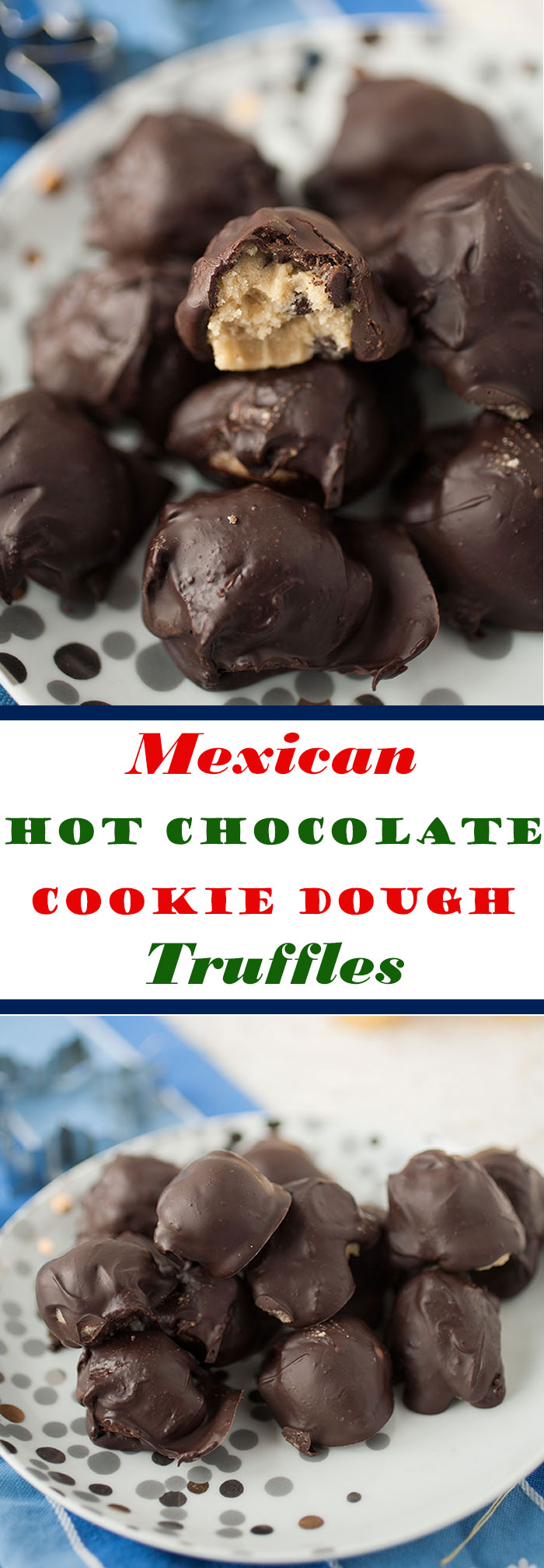 Easy to make no-bake cookie dough balls covered in cinnamon-flavored chocolate for the perfect, craveable holiday gift!
