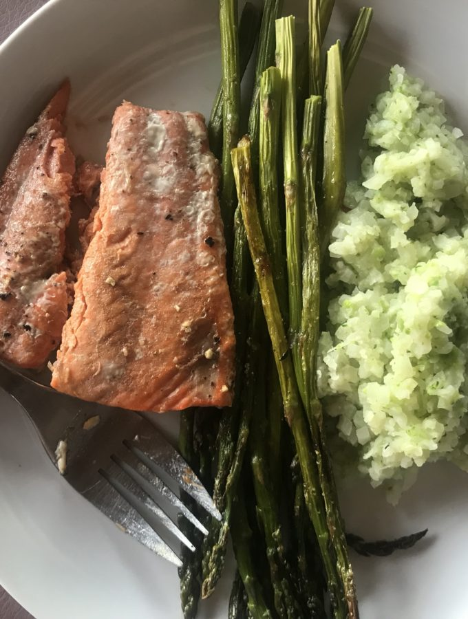 Menu inspiration from Flurries of Flour includes salmon with rice cauliflower and asparagus.